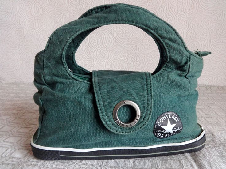 CONVERSE Canvas Handbag Green Converse Bag Women's Handbag Small Green Bag Sneakers Imitation Bag Rubber Bottom Amazing Handbag by Vintageby2sisters on Etsy
