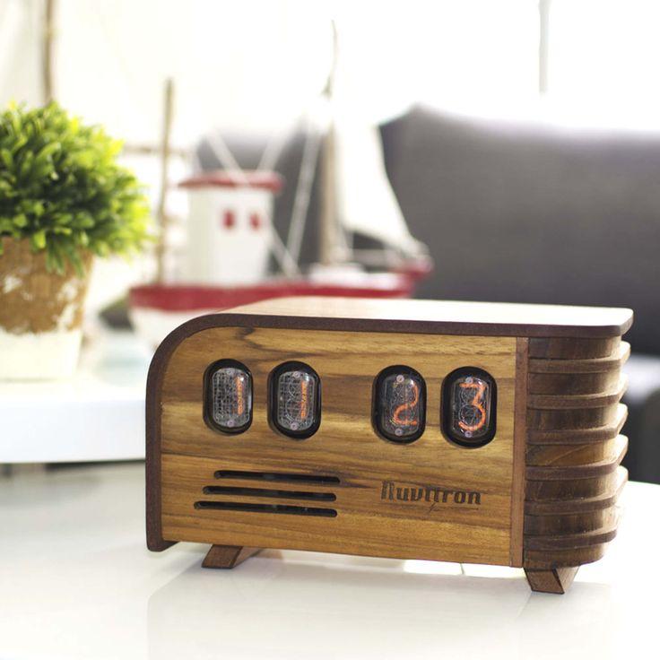 The Vintage Nixie Tube Clock - Watt #Nuvitron #gadget #nixie #timbermerchant #tech #woodgramer_feature #artdeco #realization #artdeco #mantleclock #in12 #vintagetimepiece
