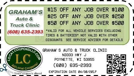 Coupon in Poynette WI for Graham's Auto & Truck Clinic from Local Coupons LLC.