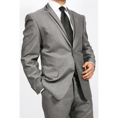 Tapered Leg Lower Rise Pants & Get Skinny Grey 2 Piece 2 Button Slim Suit with Black Edging