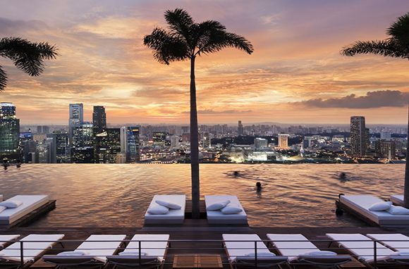Cool Pool where you can hang over the edge at Marina Bay Sands SkyPark in Singapore