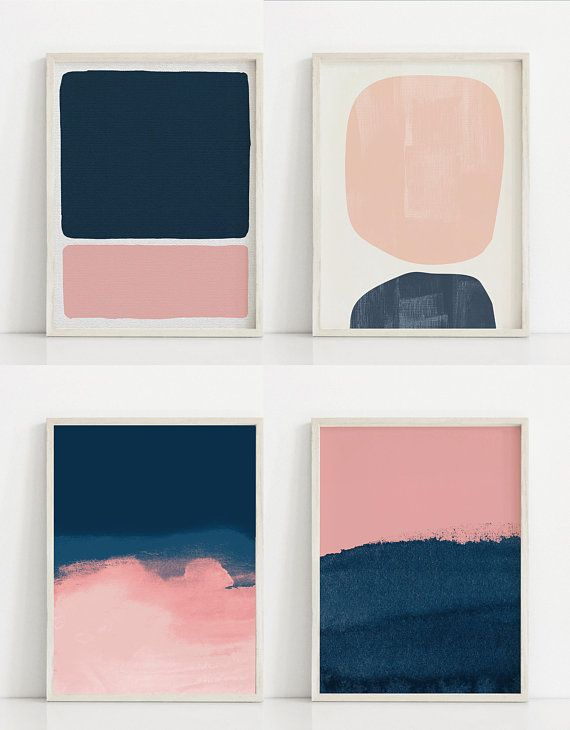 Dark Blue and Pink Print Blush Pink Painting Navy Art ...