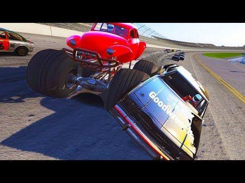 MONSTER TRUCK NASCAR MADNESS AT TALLADEGA! - Next Car Game Wreckfest Monster Truck Mod - YouTube
