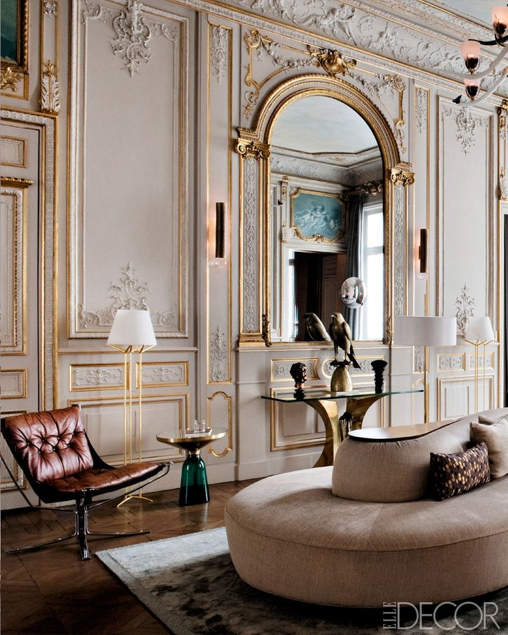 Updated 1860' s apartment in the 7th arrondissement of Paris. Elle Decor