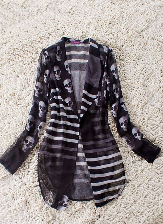 she inside - black striped and skull print curve hem sheer long-sleeved suit #skulls #fashion #skullclothing http://www.skullclothing.net