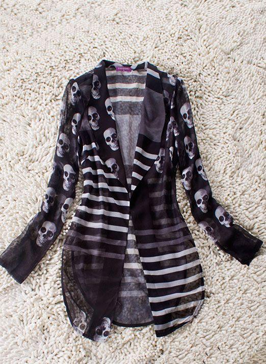 she inside - black striped and skull print curve hem sheer long-sleeved suit #skulls #fashion #skullclothing http://www.skullclothing.net