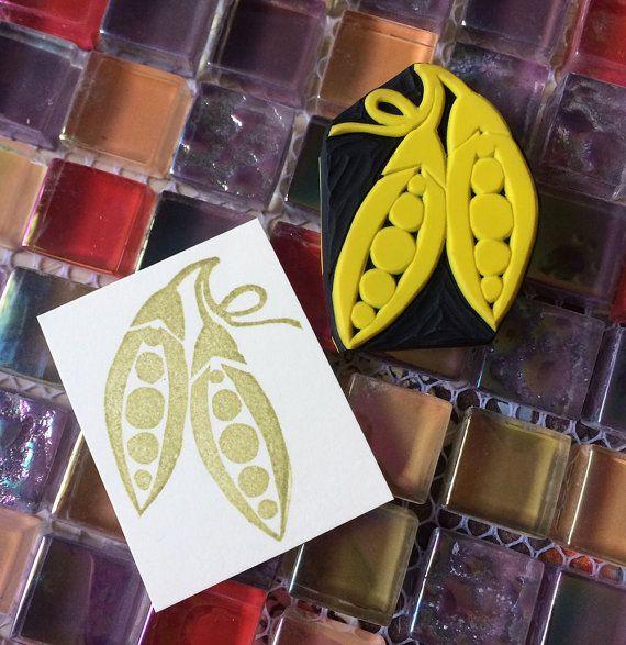 GREEN PEASHand Carved Rubber Stamp Carving Stamp by KeiWorkshop, $3.99