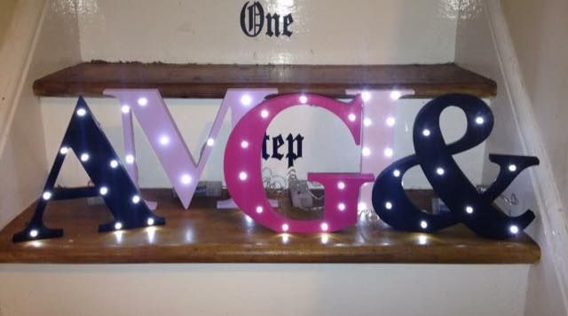 Each letters stands a good 20cm Tall complete with 10 LED fairy lights and and battery pack with the on off switch. As batteries can not be posted batteries are not supplied.Numbers symbols and shapes are also available
