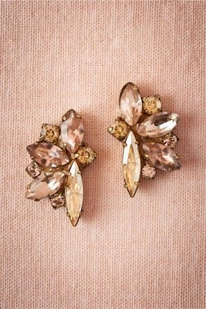 blush and champagne bridal earrings from BHLDN