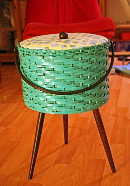A little sewing basket found in a thrift store Owner painted and reupholstered it.