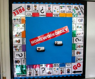 "Homworkopoly - For each week of turning homework in every day, a student will be able to take a turn on the game board.  If students land on ""chance"" or ""computer card"" spots, they get to choose a card with a prize.  Prizes include using a pen all day, choosing a book from a book order for the classroom library, draw a prize from the prize box, etc."