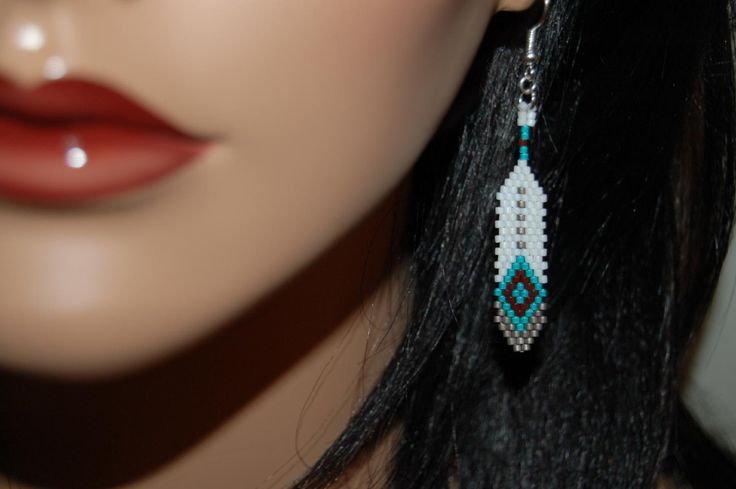 Native American Inspired Beaded Feather Earrings by FryDayJoy