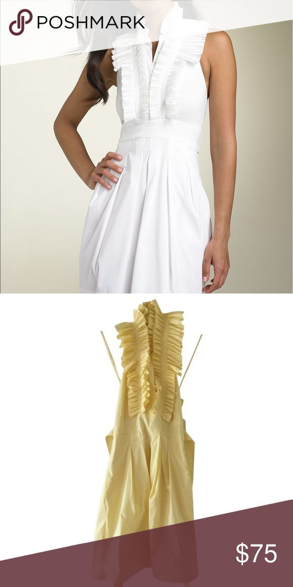 BCBG Ruffled Cocktail Dress Perfect summer yellow, and adjustable ruffled halter neck are perfect for hot weather. Can be worn to horse races as well! 🌼 BCBGMaxAzria Dresses Midi