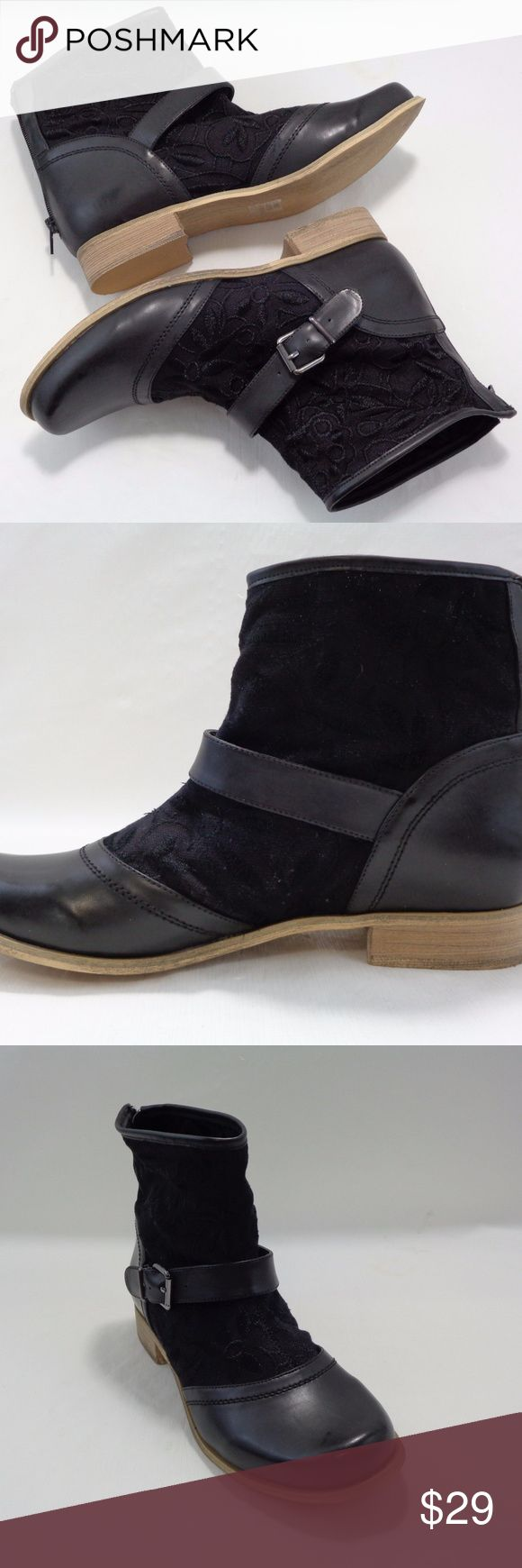 NWB Machi Womens Size 5.5 Black Quilted Zip Lace Up Sneakers Ankle Boots