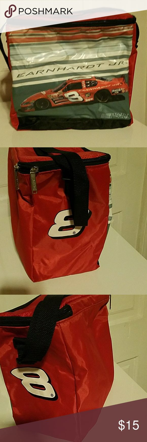 👝🚘🏁 NASCAR Dale Jr. #8 cooler NASCAR Dale Jr. #8 cooler bag with black adjustable shoulder strap and 2 NASCAR zipper pulls. Back unzips at top. #8 is on both sides. Nothing on back.  NOT FADED. SMOKE FREE home. Original owner, me. In used condition. Inside is kind of wrinkly looking, but it's a cooler and it is Dale Jr #8. Dale Jr. is set to retire soon from racing which if u r a NASCAR fanatic this is old news to you. :) Nascar Bags