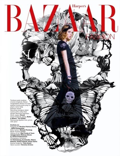 Skull of Spring by Ykha Amelz, via Behance: Graphic Design, Romances, Bazaar Indonesia, Patricia Malina, Fashion Photography