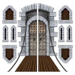 This site has lots of inexpensive decorations for a wide variety of party themes!  This castle looks perfect for our upcoming murder mystery party :)