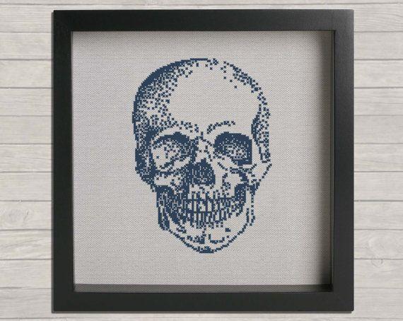 "Anatomy No. 1 Skull  Cross Stitch PDF Pattern 12"" hoop.DIY cross stitch. Instant download."