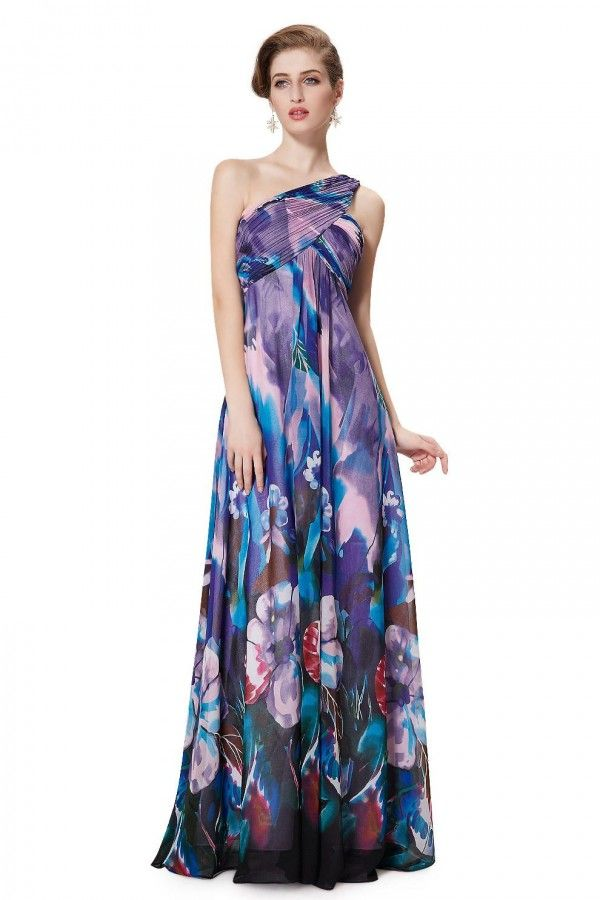 One Shoulder Spring Party Floral Chiffon Dress - Purple