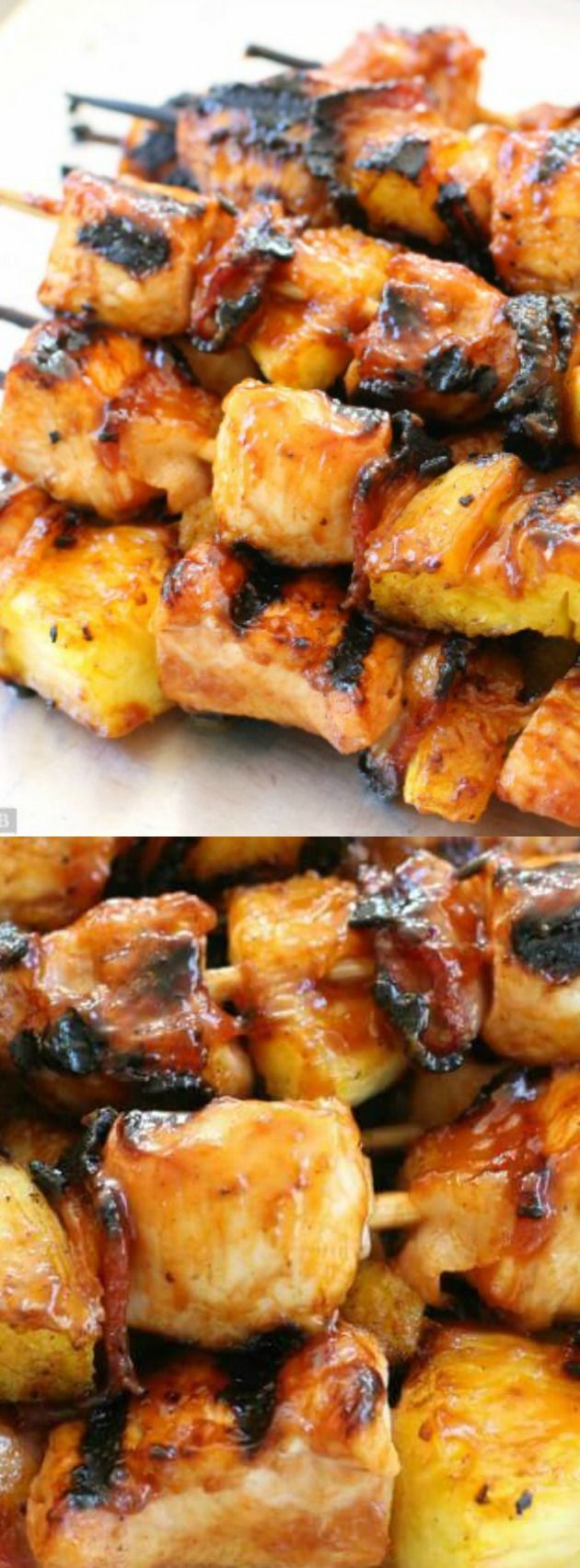 These BBQ Chicken Bacon Pineapple Kabobs from Butter with a Side of Bread have tender chicken paired with tangy pineapple and smoky bacon!