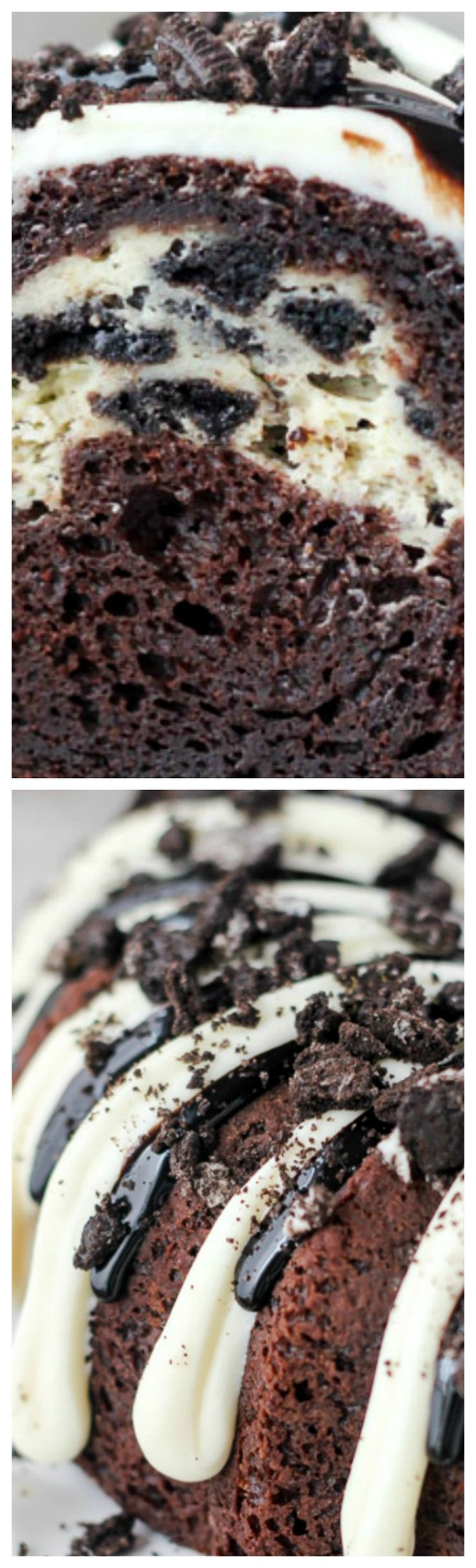 Oreo Chocolate Cheesecake Cake ~ A dark chocolate bundt cake layered with an Oreo cheesecake and covered in a chocolate cheesecake glaze.