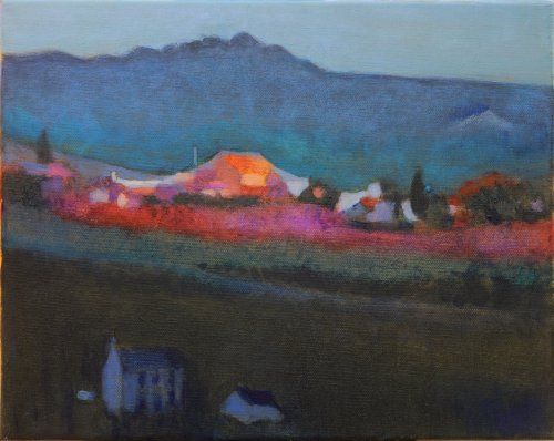 Dusky farms, Penwith painting by Tom Henderson Smith approx 26 x 31 cm. Acrylic on stretched canvas