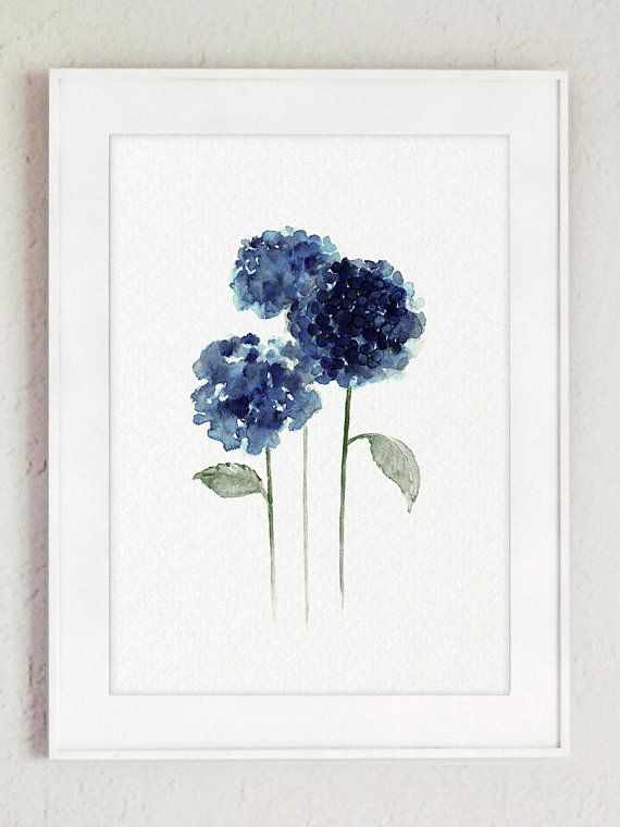Hydrangea Flowers Painting Navy Blue Watercolor Art Print Hydrangea Painting Hydrangeas Art Watercolor Art Prints