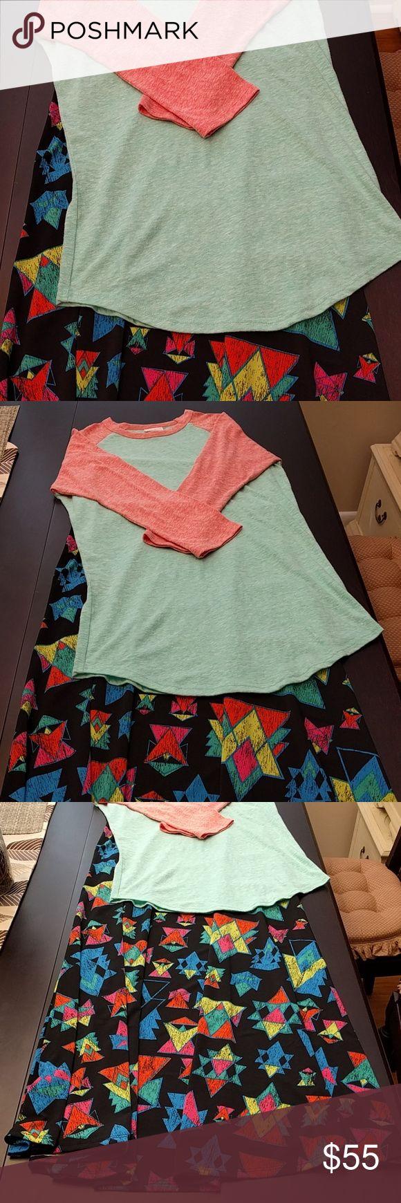 Outfit! XS Maxi & XS Randy NWOT Black background with neon Aztec print XS LuLaRoe Maxi. Matching super soft green and orange XS Randy tee. Brand new. LuLaRoe Skirts Maxi
