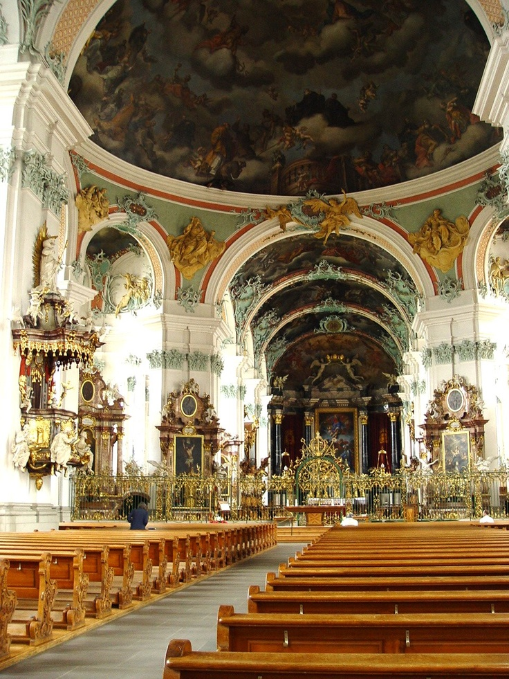 St Gallen, Switzerland - Interior of Abbey of Saint Gall Church in the late Baroque style.