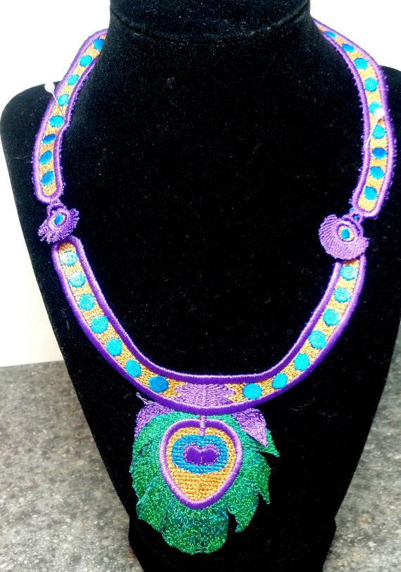 Green and Purple #Peacock #Necklace by teresadelosh on Etsy, $50.00