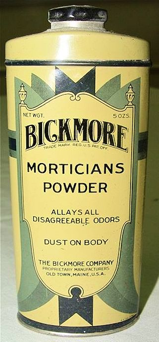 """Vintage Bickmore Mortician's Embalming Powder """"Allays all disagreeable odors"""""""