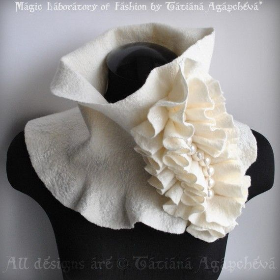 Scarf Cowl Neckpiece Ivory Felted Merino,Silk Huge, Frill Accent Huge Pearls Beaded /Beauty Parade/ Fashion Glamour