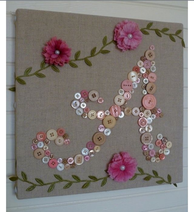 Button Craft - stick buttons onto a canvas in  the shape as a word or a letter and decorate as a lovely art piece - Craft Idea Upcycle