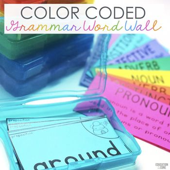 This Color Coded Grammar Word Wall Starter Kit Contains everything you need to get started using a Grammar Wall in your classroom.  Grammar Wall Contents:Guides: Implementation Guide Card Index Printing GuideParts of Speech Cards: Adjectives Nouns Pronouns Verbs Adverbs Prepositions Conjunctions InterjectionsNote: Each part of speech does not have pictures to go with it because some cannot be described using a picture.