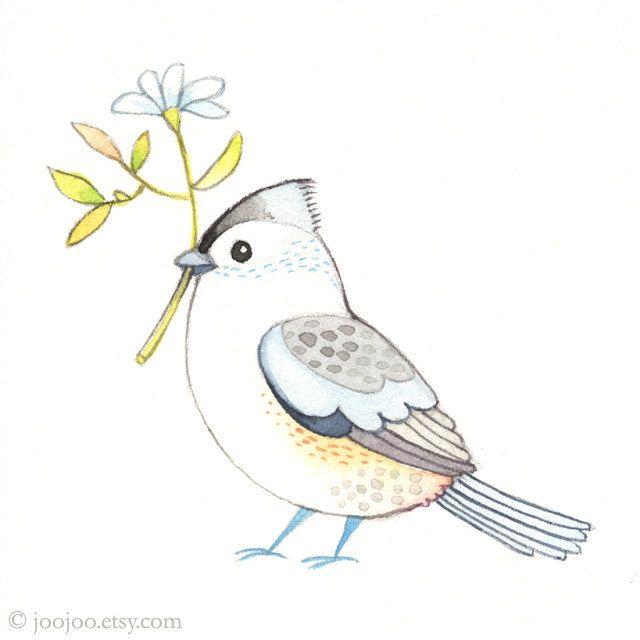 Original watercolor bird by JooJoo