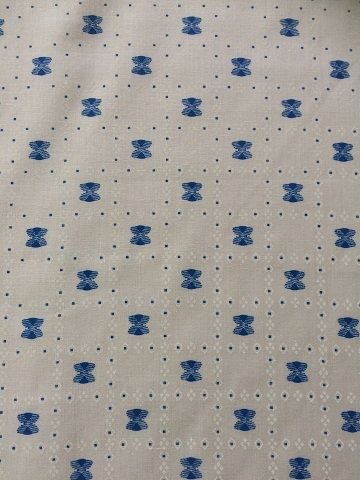 Retro Blue Bow on light cream cotton- amazing for vintage shirts!