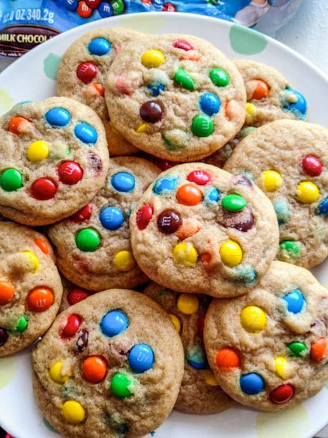 Soft, chewy, and easy cookie dough filled with M+Ms. Use whatever add-in you like!