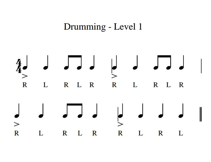 "Drumming Levels(1).pdf >>> Good basic rhythms for echoing/reading. Replace ""stick"" with a clap."