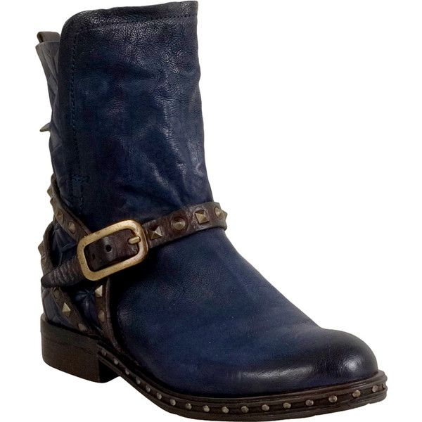 A.S.98 Slash Women's Motorcycle Boot (495 AUD) ❤ liked on Polyvore featuring shoes, boots, navy, engineer boots, buckle boots, studded buckle boots, spiked shoes and buckle biker boots