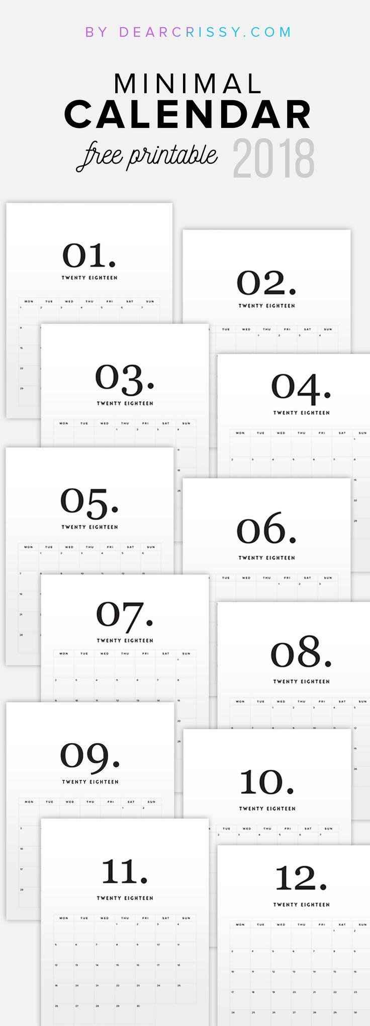 Free Printable 2018 Minimal Calendar - Modern Calendar - Minimalist Calendar - Clean White Calendar 2018 - #2018Calendar #FreePrintable #Calendar #minimalist #modern #simple