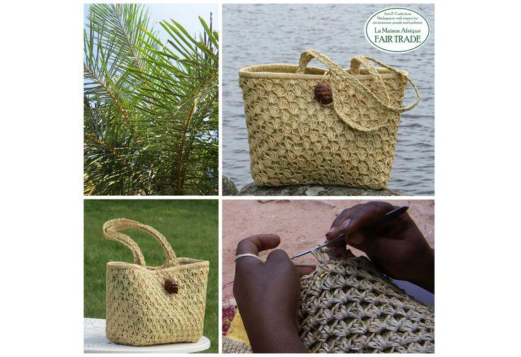 Fair Trade handbag of crochet raffia palm leaves. Formex exhibitor La Maison Afrique FAIR TRADE