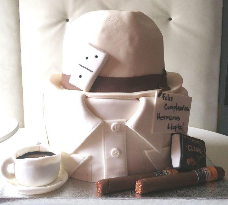 Cuban birthday cake- hat, guayabera, cigar, cortadito, dominos