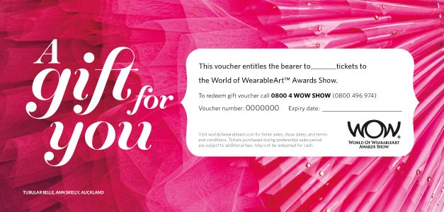 WOW Gift vouchers can be redeemed for merchandise, or 2014 Show tickets when ticket sales begin.
