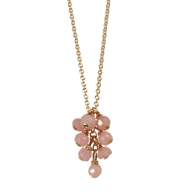 Mounir delicate cluster pendant on 14ct rose gold filled with faceted pink agate beads. Retailing at £42. www.mounir.co.uk/index.php?route=product/product&path=60_113&product_id=1979&limit=100 #Mounir #Jewellery #pinkagate #rosegold #goldfilled #14ct #pendants #delicatependants #clusterpendants
