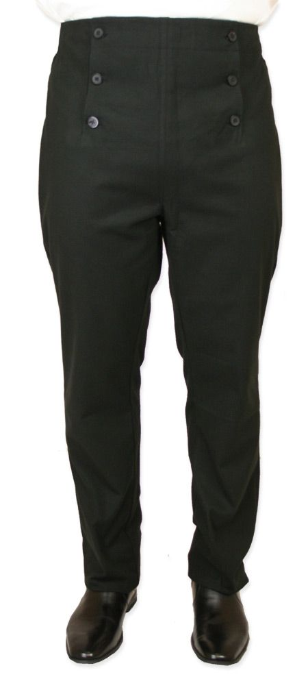Victorian Mens Black Cotton Blend Solid Dress Pants | Dickens | Downton Abbey | Edwardian || Regency Fall Front Trousers - Black