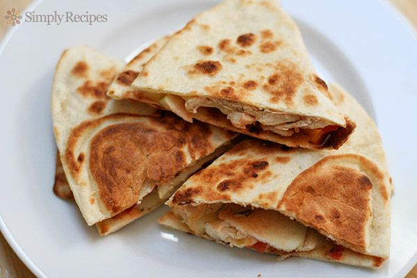Apple Chicken Quesadilla ~ Kid-friendly chicken apple quesadilla recipe, toasted flour tortillas with melted cheese, apple slices, chicken, and salsa. ~ SimplyRecipes.com
