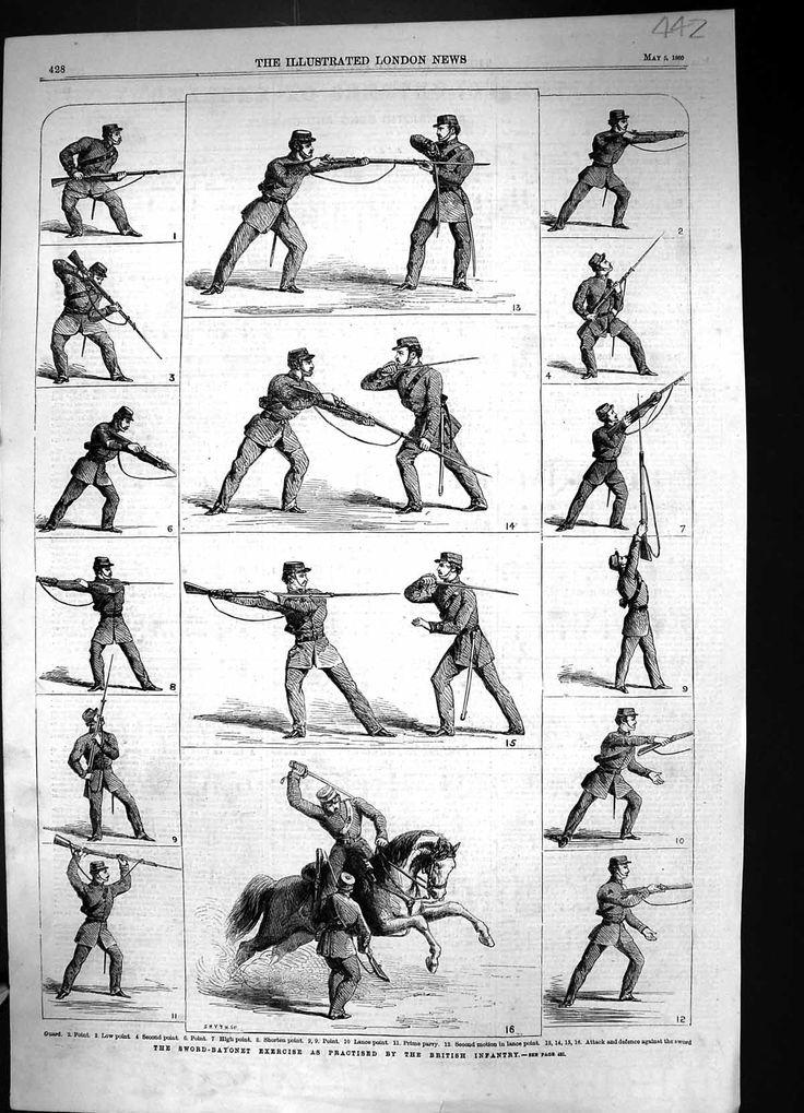 Old Original Antique Victorian Print 1860 Sword Bayonet Exercise British Infantry Guard Lance Prime Pa 442J320