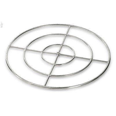 "American Fireglass Triple Stainless Steel Fire Pit Ring Burner (Set of 6) Size: 1"" H x 36"" W x 36"" D"