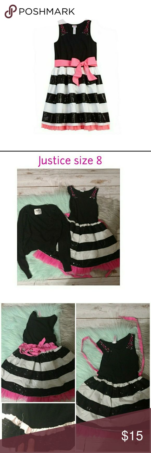 Justice size 8 dress shrug bundle pink black white Gorgeous pink, black, and white sequined dress.  Comes with a shrug that has flower details in size 8 from Justice for girls.  The white stripe closest to the body has a pink spot from dye run. Justice Dresses