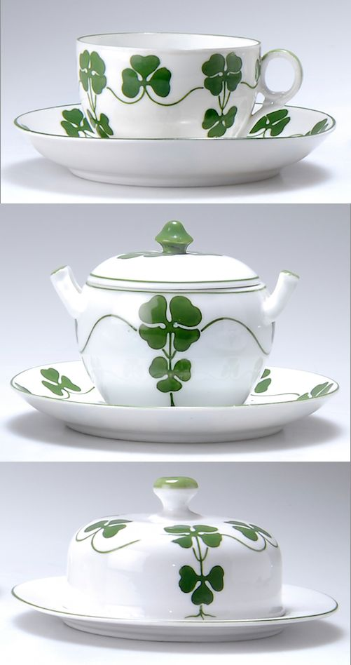 HANS EDUARD VON BERLEPSCH-VALENDÀS three parts to a coffee service, 1900, porcelain decorated with clover, manufactured by The United Workshops for Handcrafted Art, Munich